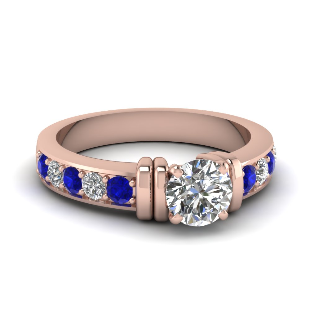 simple bar set round moissanite engagement ring with sapphire in FDENR957RORGSABL Nl RG