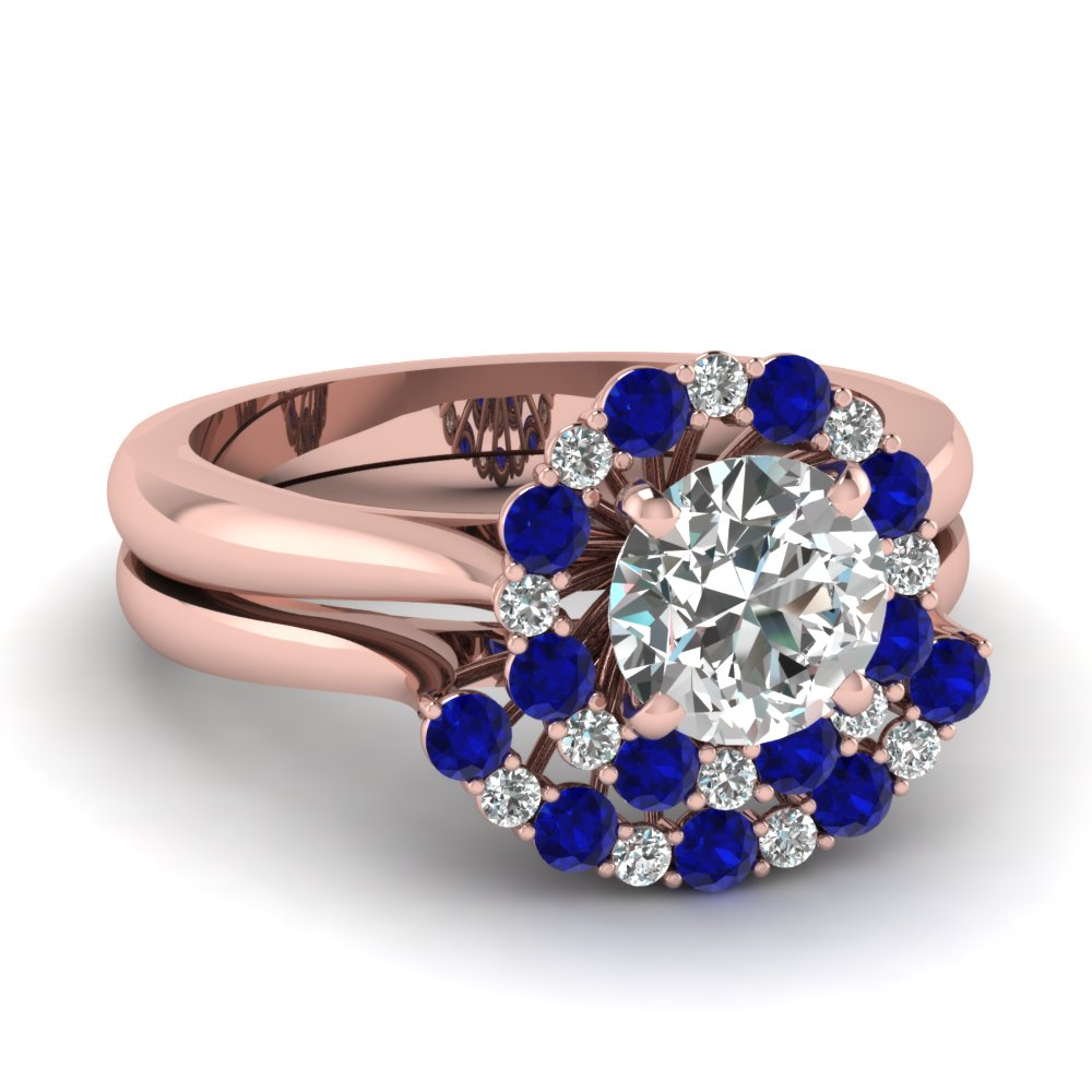 cathedral floating halo diamond wedding ring set with sapphire in FDENS3206ROGSABL NL RG