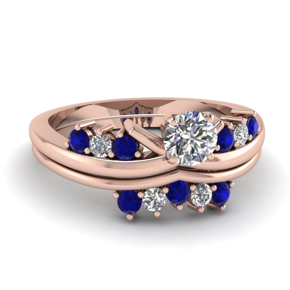 modern round diamond wedding ring set with sapphire in FD4490ROGSABL NL RG