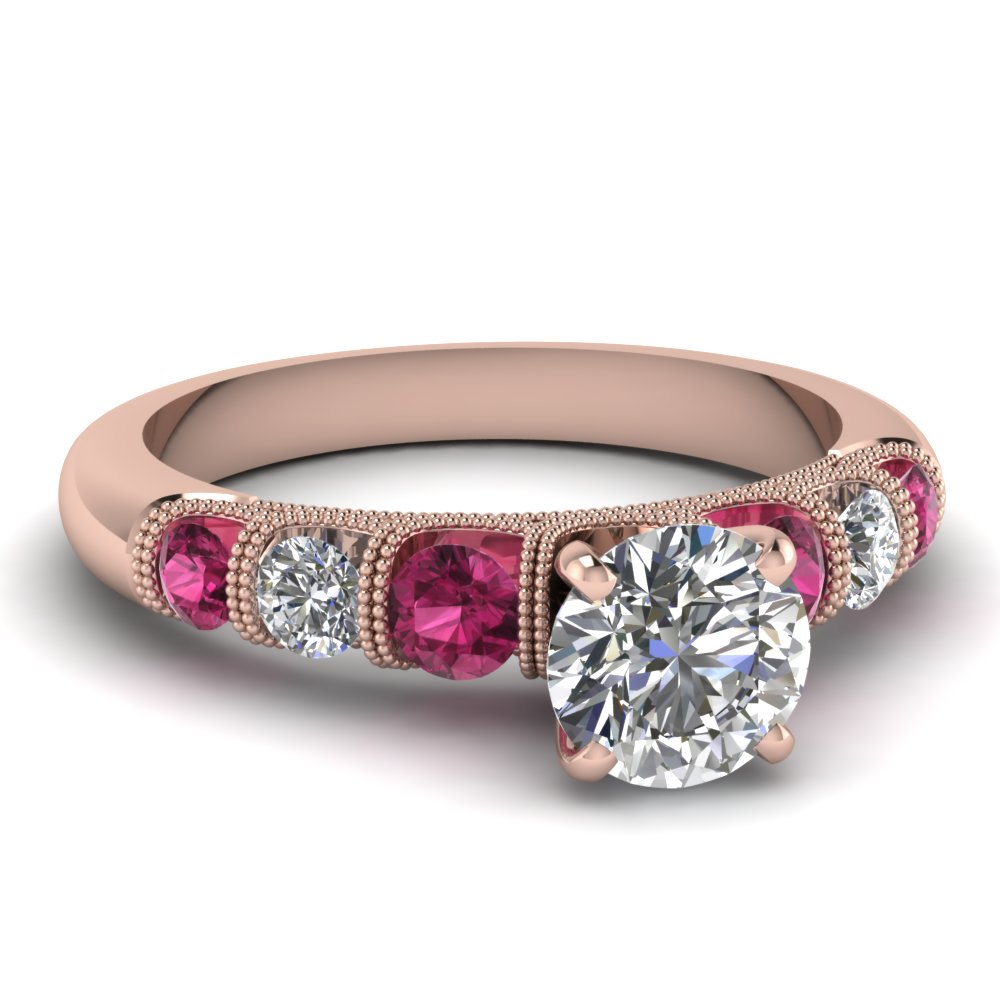 Round Diamond Milgrain Ring with Pink Sapphires