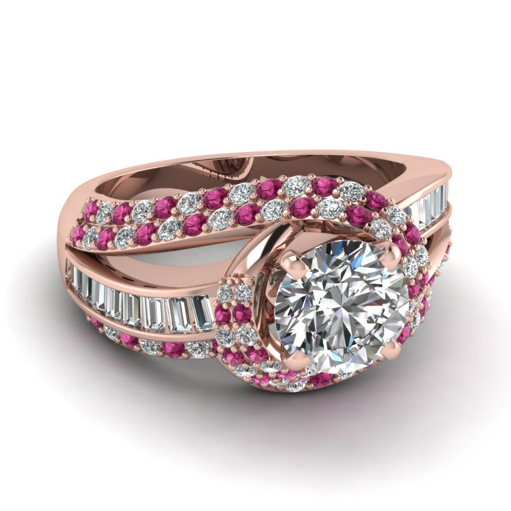 straight baguette pink sapphire wedding sets engagement rings
