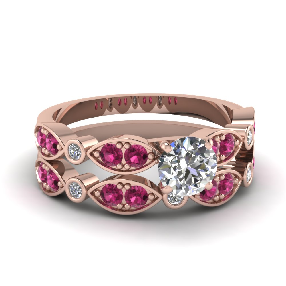 art deco round diamond wedding ring set with pink sapphire in FDENS2035ROGSADRPI NL RG