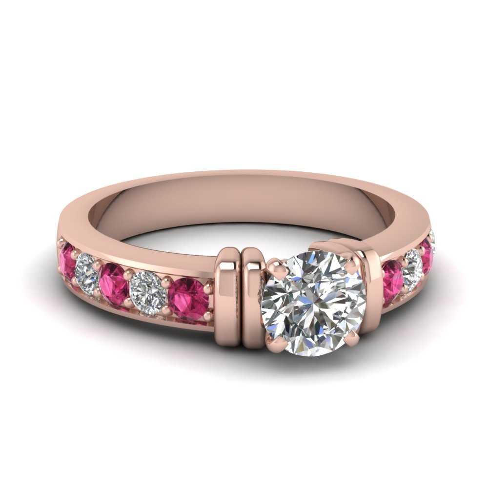 simple bar set round moissanite engagement ring with pink sapphire in FDENR957RORGSADRPI Nl RG