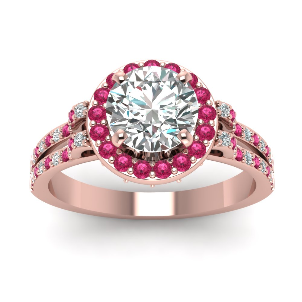 Rose Gold Round White Diamond Engagement Wedding Ring With Dark Pink ...