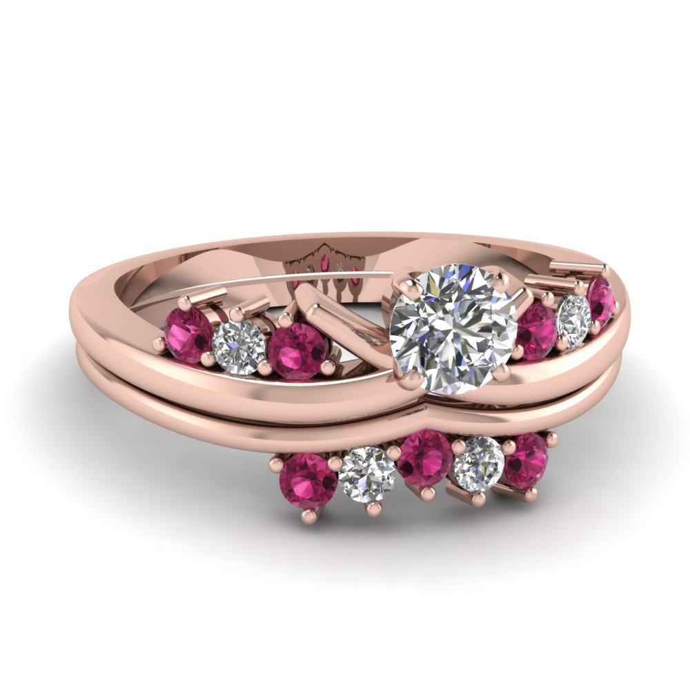 modern round diamond wedding ring set with pink sapphire in FD4490ROGSADRPI NL RG