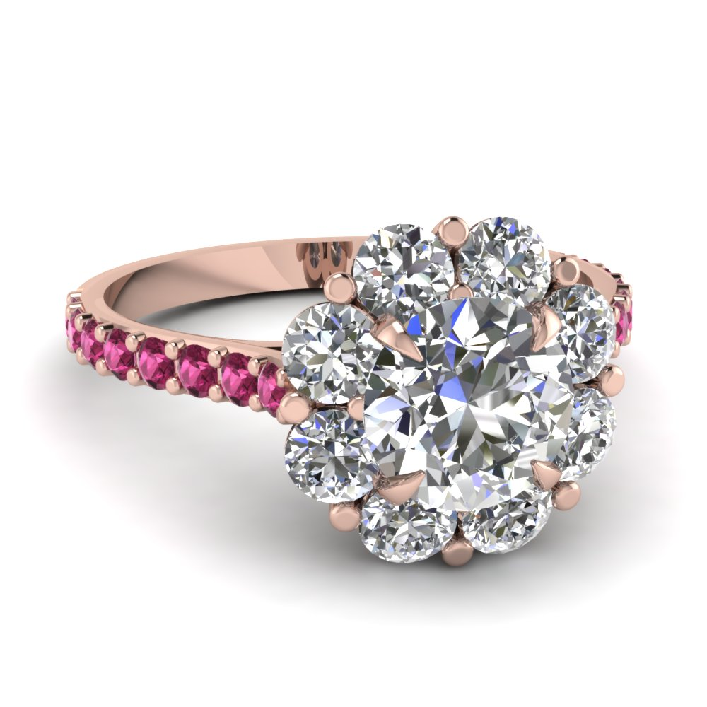 pink diamond wedding ring flower halo engagement ring with pink sapphire in 6576