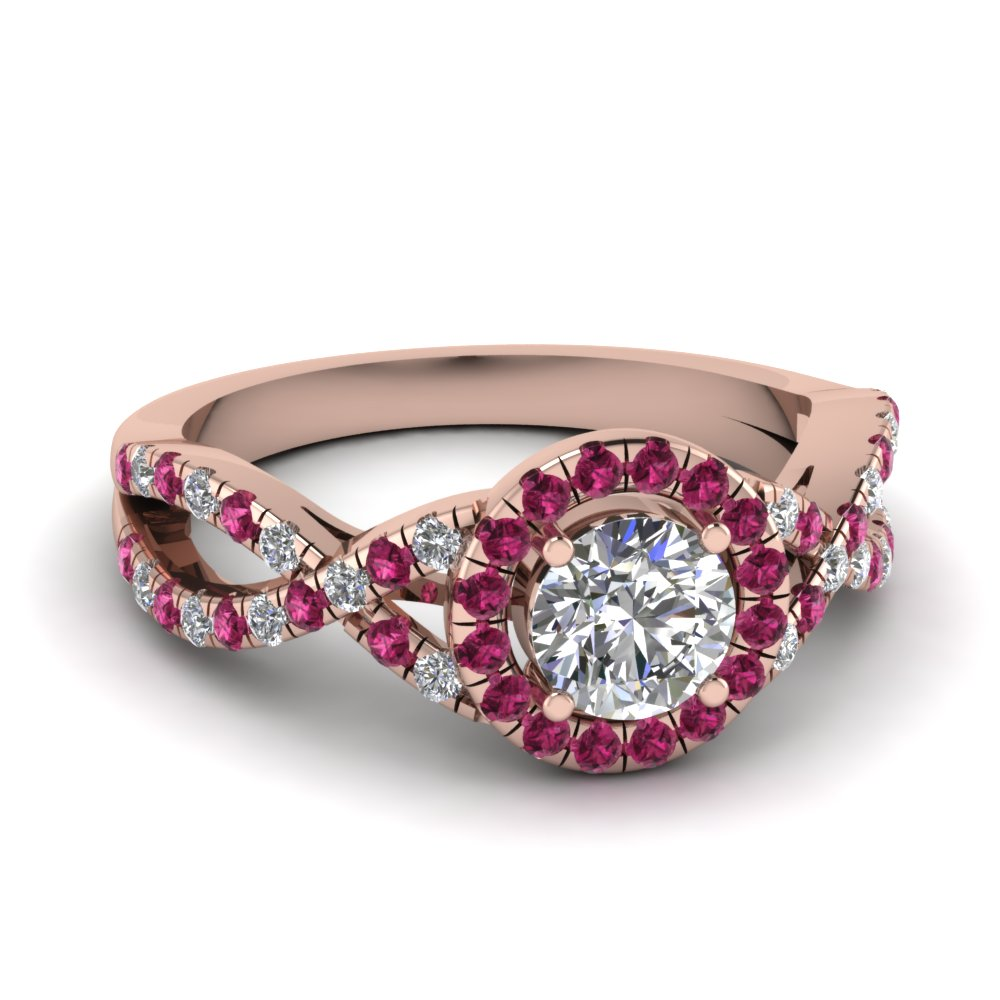 entwined halo diamond engagement ring with pink sapphire in FDENR9320RORGSADRPI NL RG
