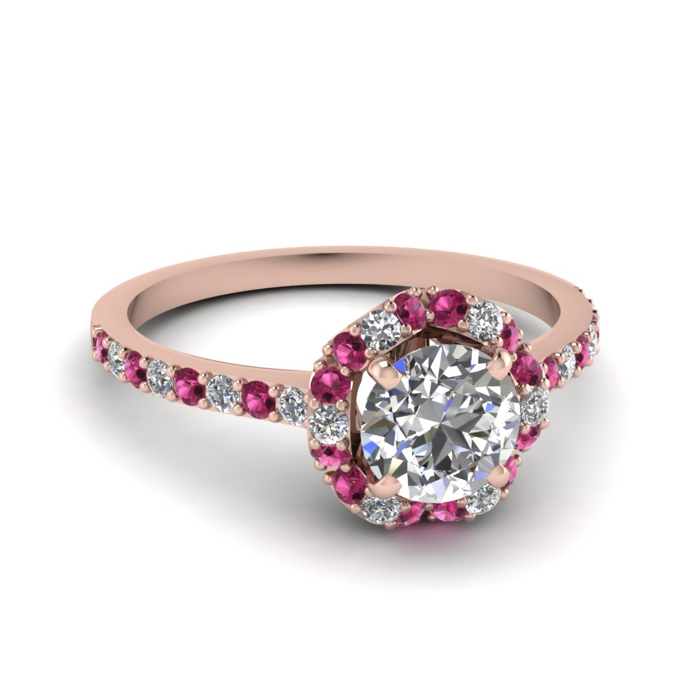petite flower diamond engagement ring with pink sapphire in FDENS3265RORGSADRPI NL RG