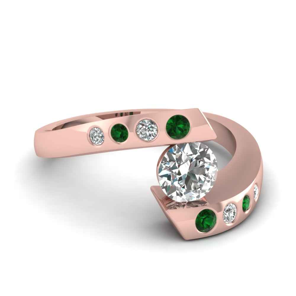 Tension Diamond Ring With Emerald