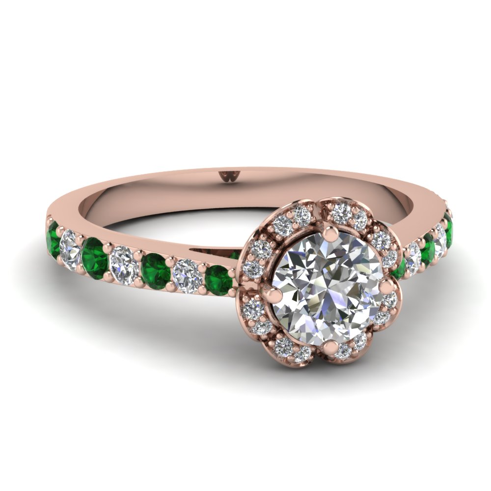 Round Diamond Floral Halo Rose Gold Engagement Ring