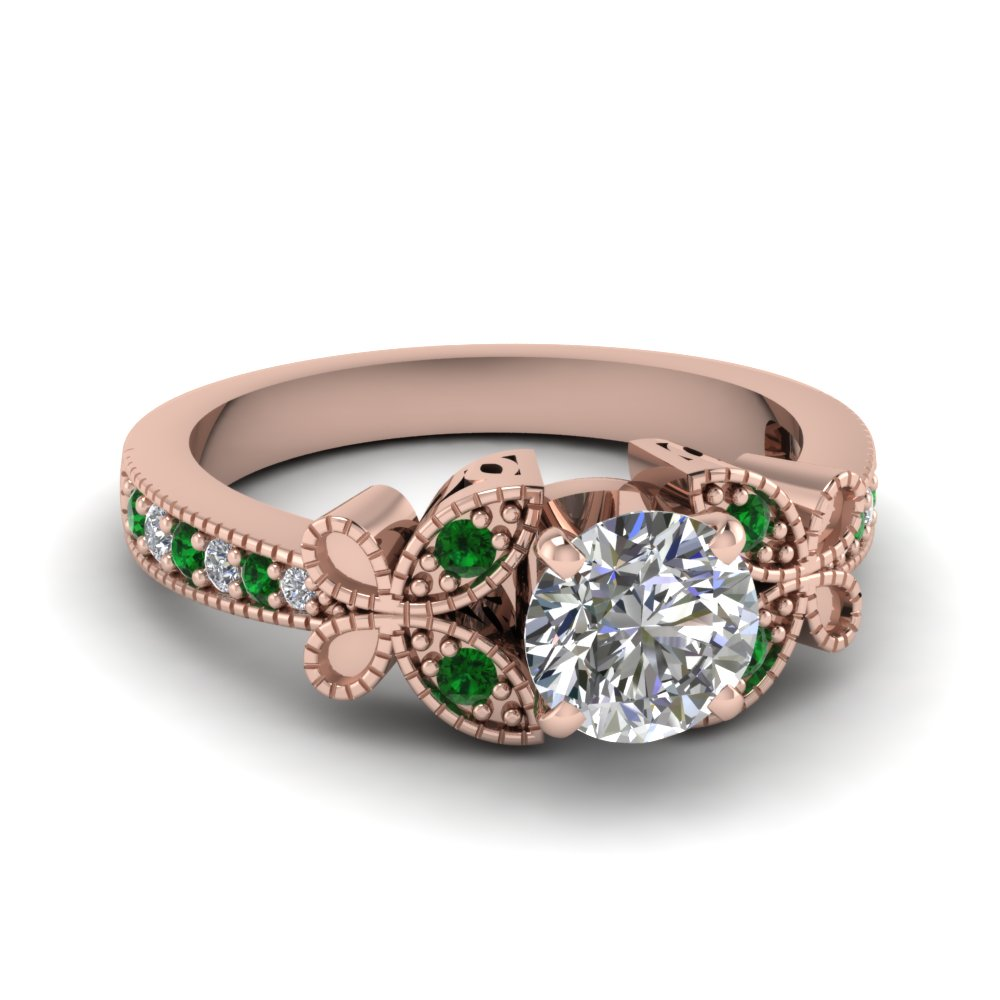 rose-gold-round-white-diamond-engagement-wedding-ring-with-green-emerald-in-pave-set-FDENS3077RORGEMGR-NL-RG