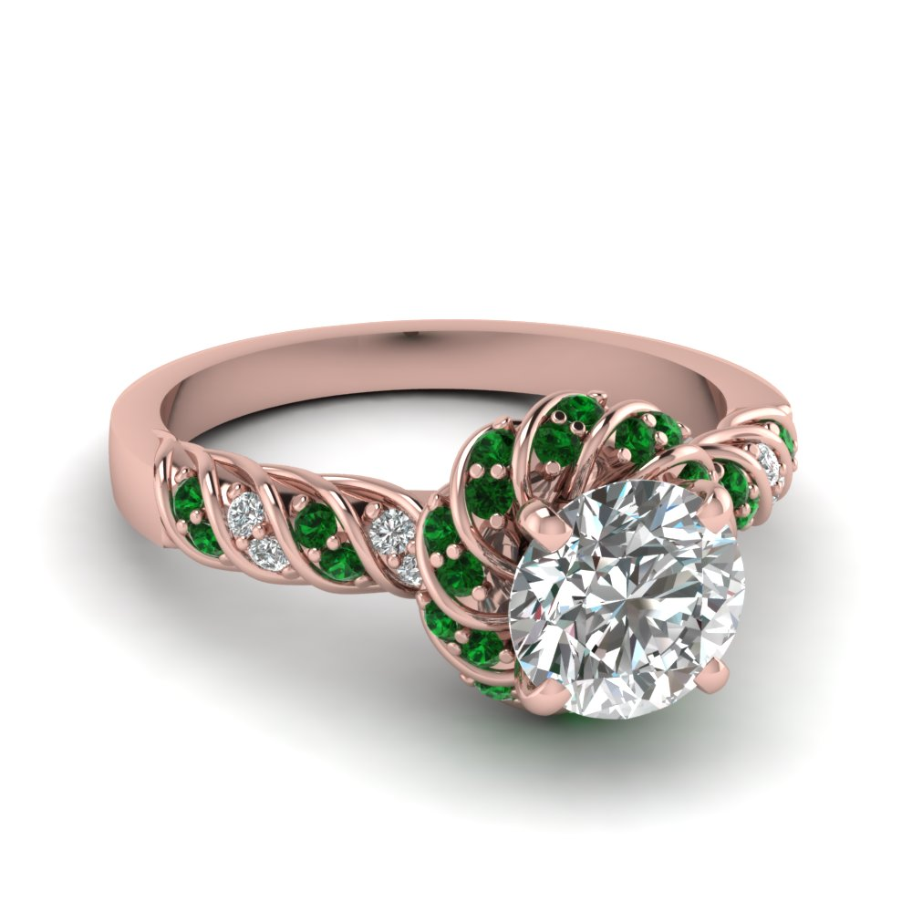 Emerald Twisted Halo Round Cut Diamond Ring In 14K Rose Gold