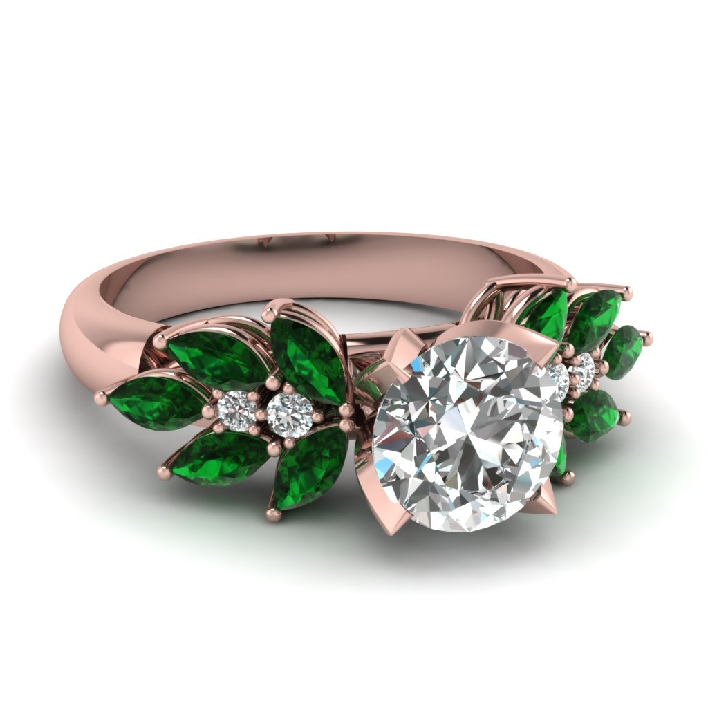 round cut nature inspired marquise diamond ring with emerald in 950 platinum fascinating diamonds. Black Bedroom Furniture Sets. Home Design Ideas