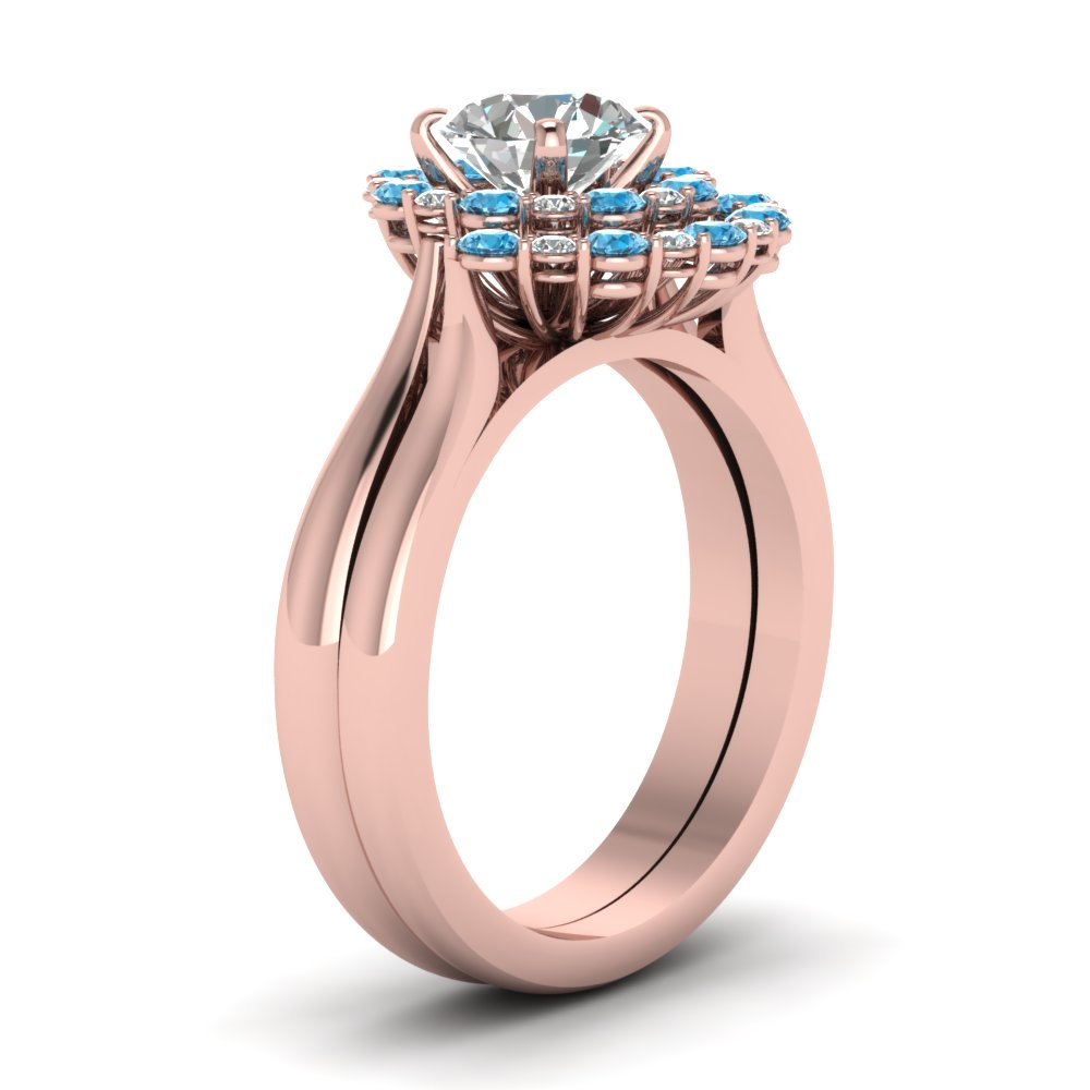 Cathedral Floating Halo Diamond Wedding Ring Set With Blue Topaz In ...