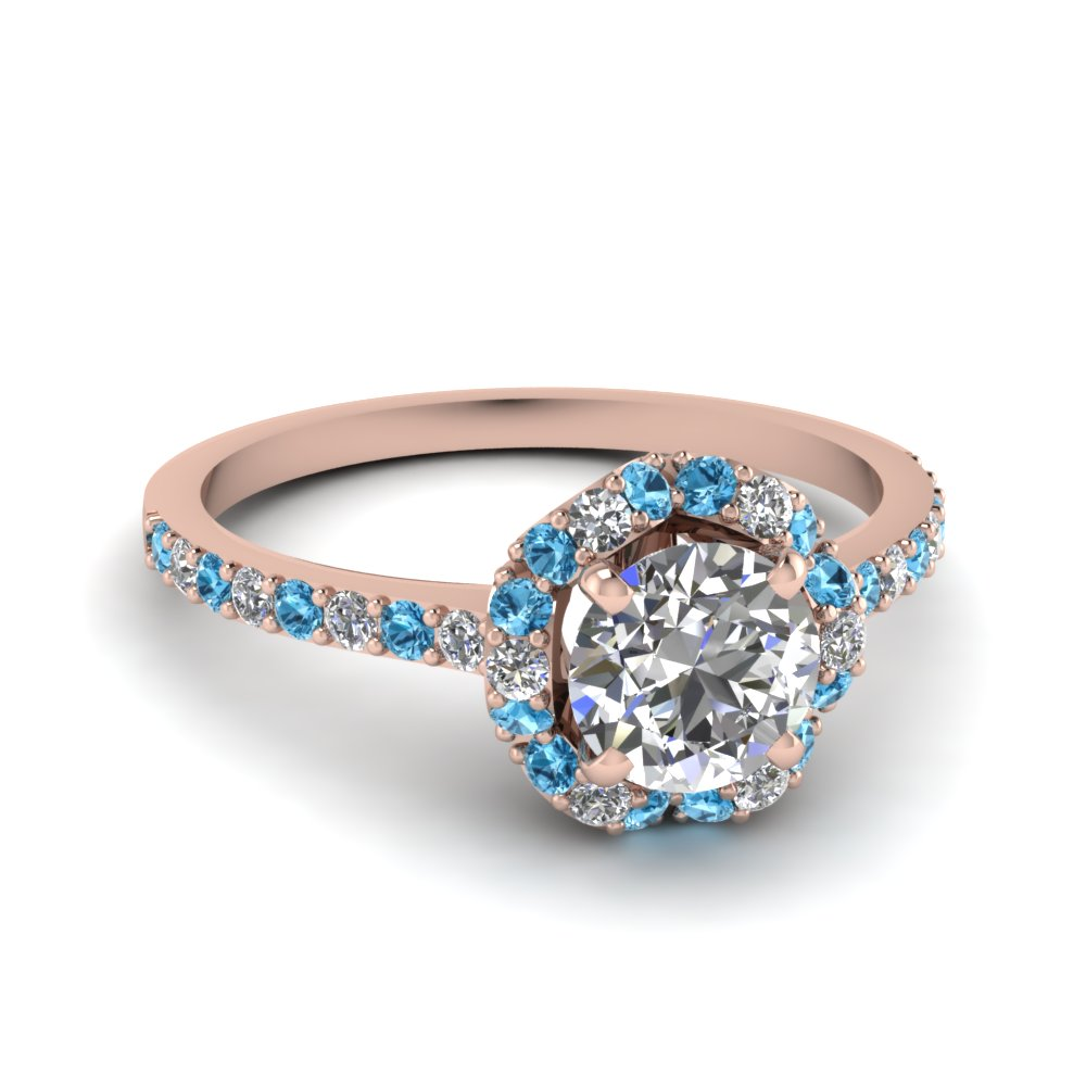 Petite Flower Diamond Engagement Ring With Blue Topaz In 14K Rose