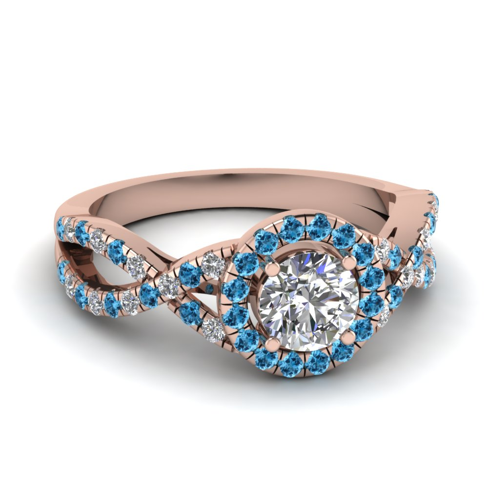 entwined halo diamond engagement ring with blue topaz in FDENR9320RORGICBLTO NL RG