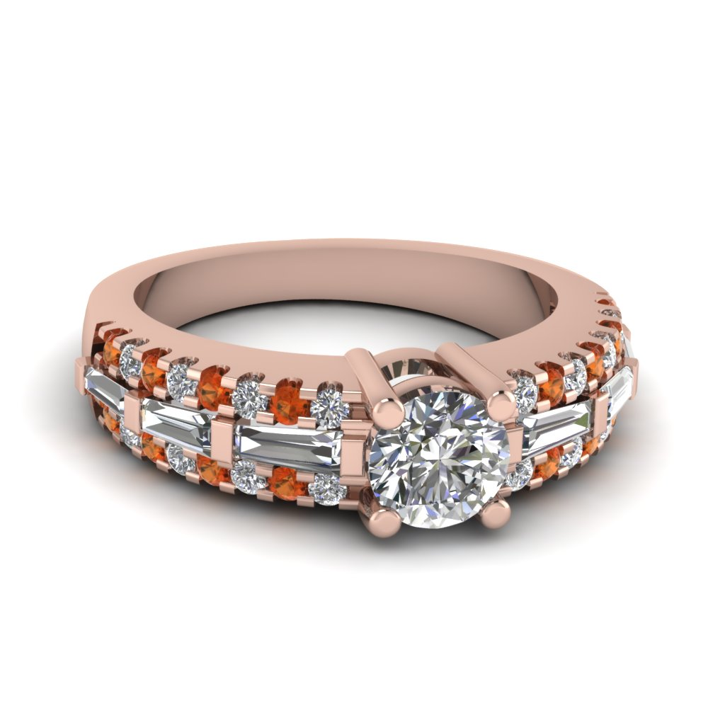 3 row lab diamond and orange sapphire engagement ring with baguette in FDENS1395RORGSAOR NL RG