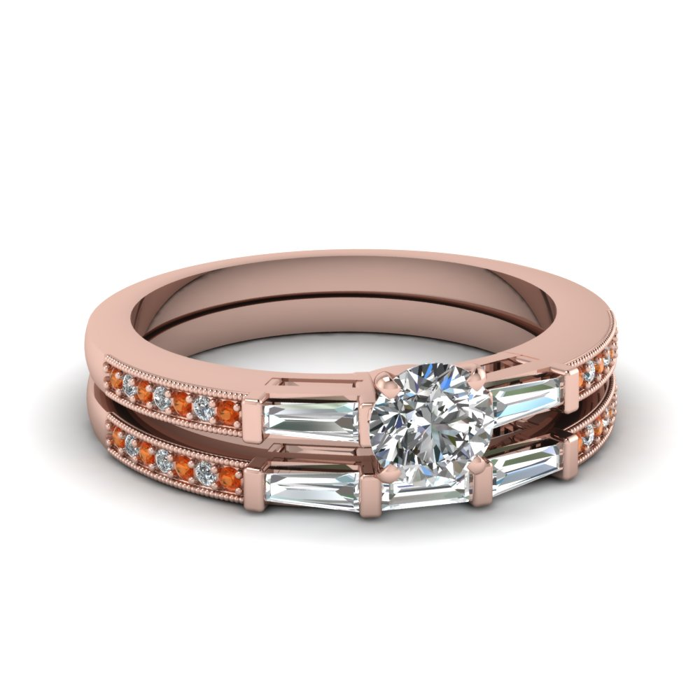 delicate baguette and round diamond wedding set with orange sapphire in FDENS3074ROGSAOR NL RG 30