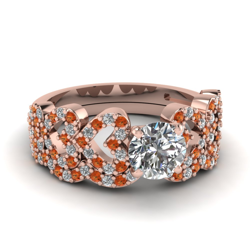 round cut heart design linked diamond wedding set with orange sapphire in FDENS3051ROGSAOR NL RG.jpg