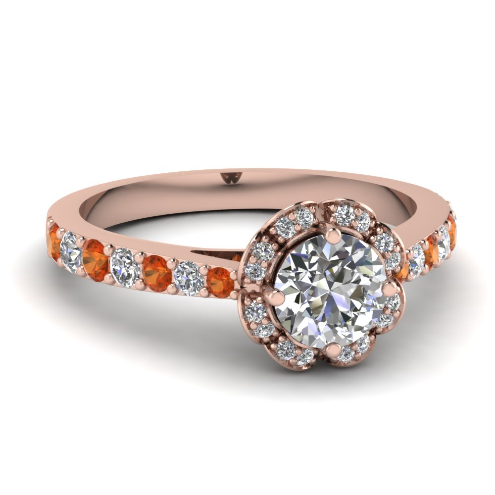 floral halo diamond engagement ring with orange sapphire in FDENR9304RORGSAOR NL RG