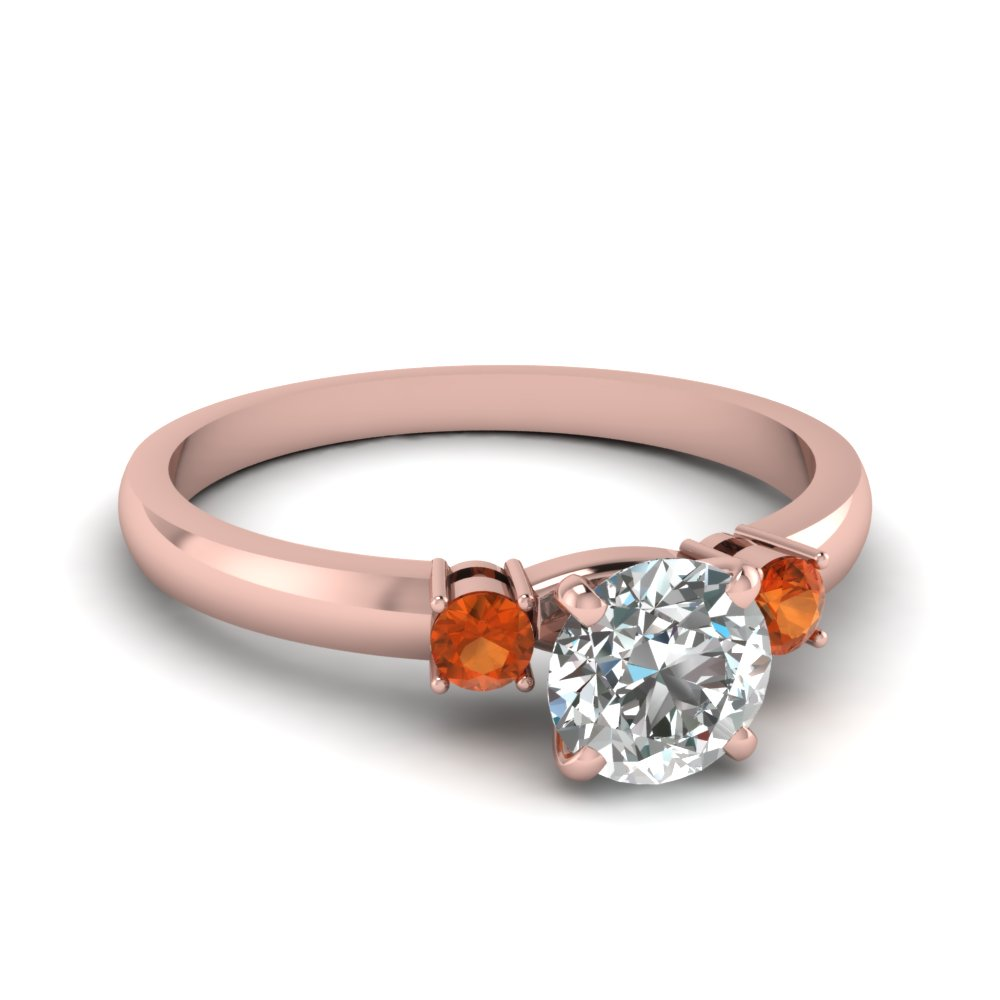 basket prong round diamond 3 stone ring with orange sapphire in FDENS3106RORGSAOR NL RG