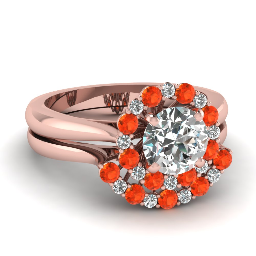 cathedral floating halo diamond wedding ring set with orange topaz in FDENS3206ROGPOTO NL RG