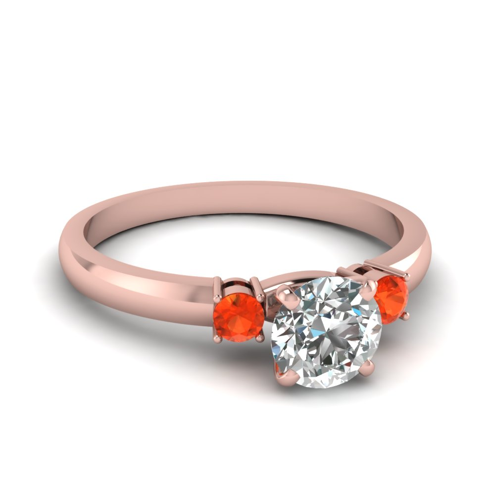 3 Stone Round Engagement Rings