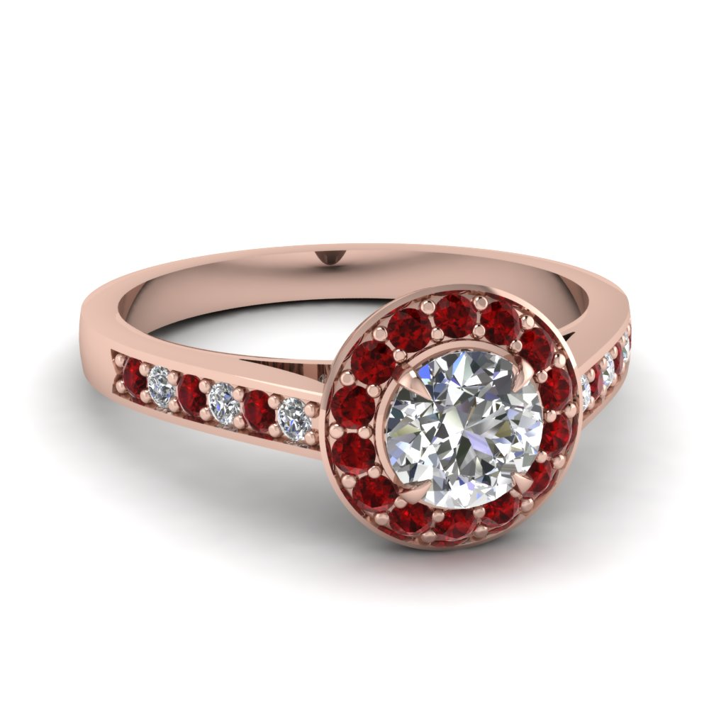 Cathedral Pave Halo Diamond Engagement Ring With Ruby In Fd1024rorgrudr Nl Rg