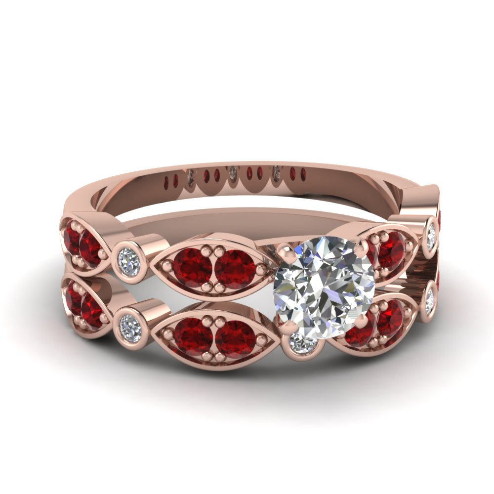 rose-gold-round-white-diamond-engagement-wedding-ring-with-red-ruby-in-pave-bezel-set-FDENS2035ROGRUDR-NL-RG