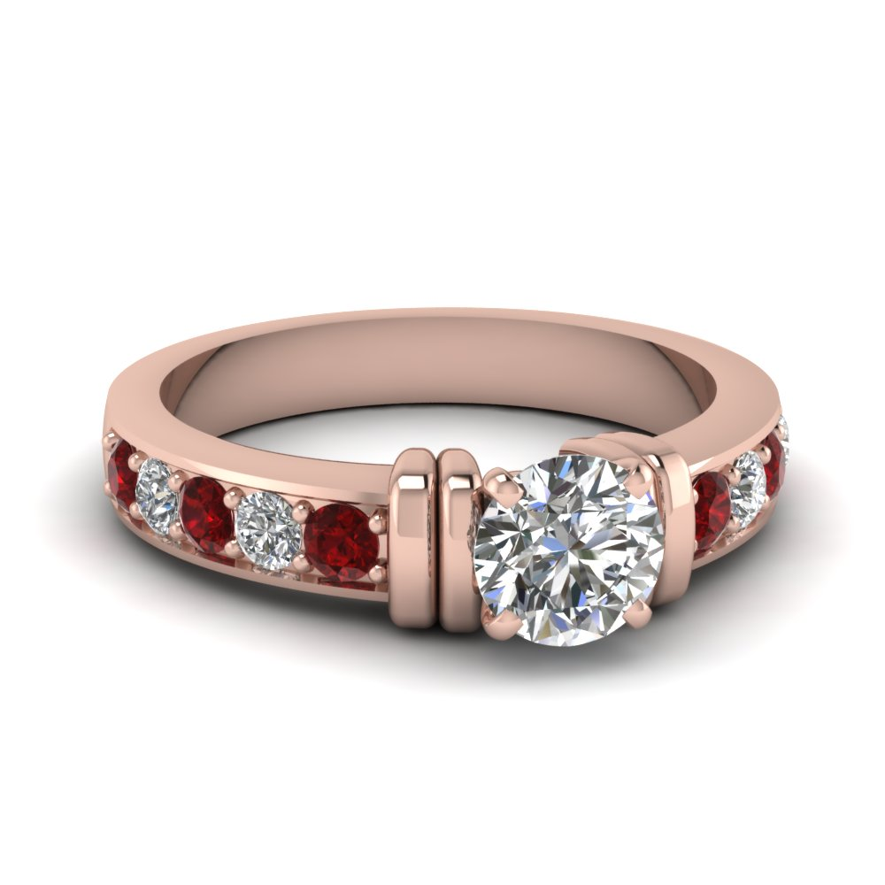 simple bar set round lab diamond engagement ring with ruby in FDENR957RORGRUDR Nl RG