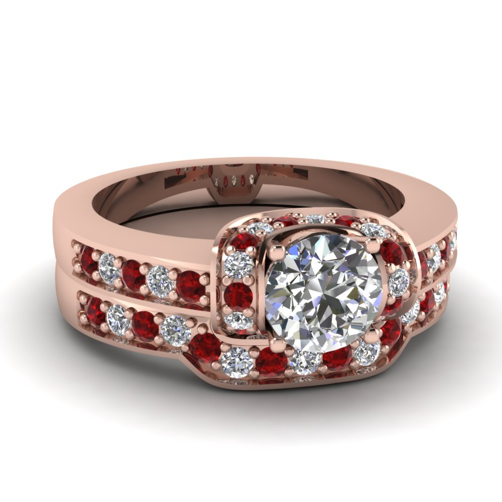 Ruby Pave Halo Wedding Set