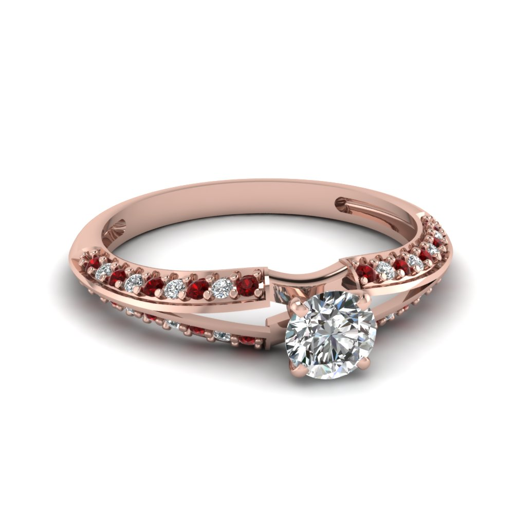 delicate split round diamond engagement ring with ruby in FDENS3049RORGRUDR NL RG 30