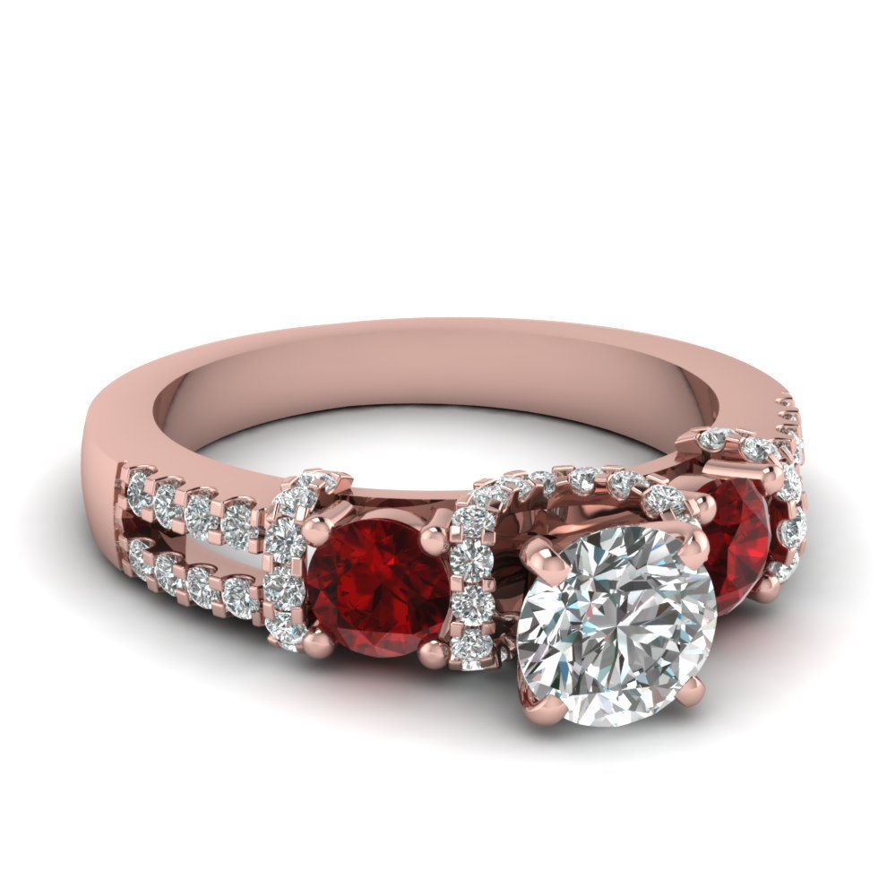Round Ruby Side Stone Engagement Ring