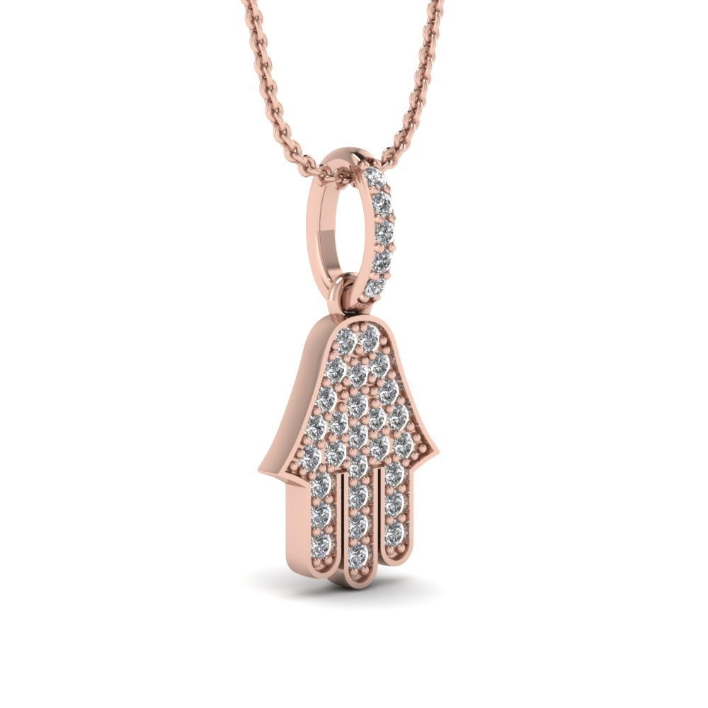 Rose gold round white diamond jewish hamsa religious pendant in pave add to cart aloadofball Images