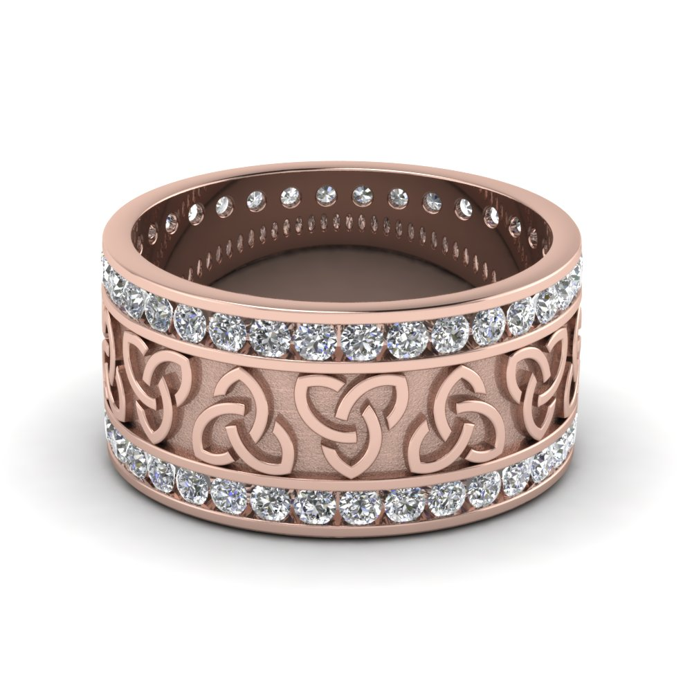 Diamond Celtic Wedding Band In 14K Rose Gold Fascinating Diamonds