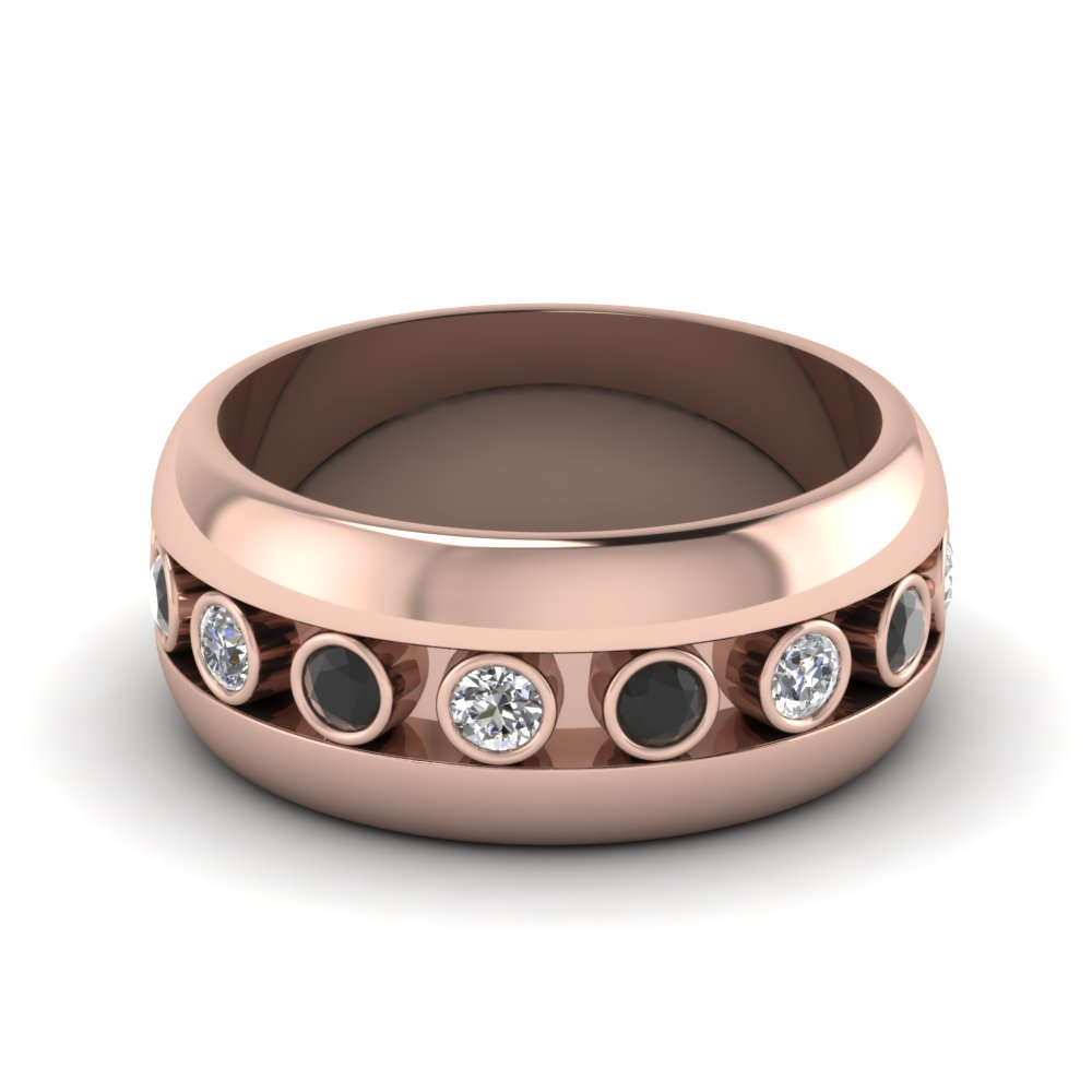 rose gold round white diamond mens wedding band with black diamond
