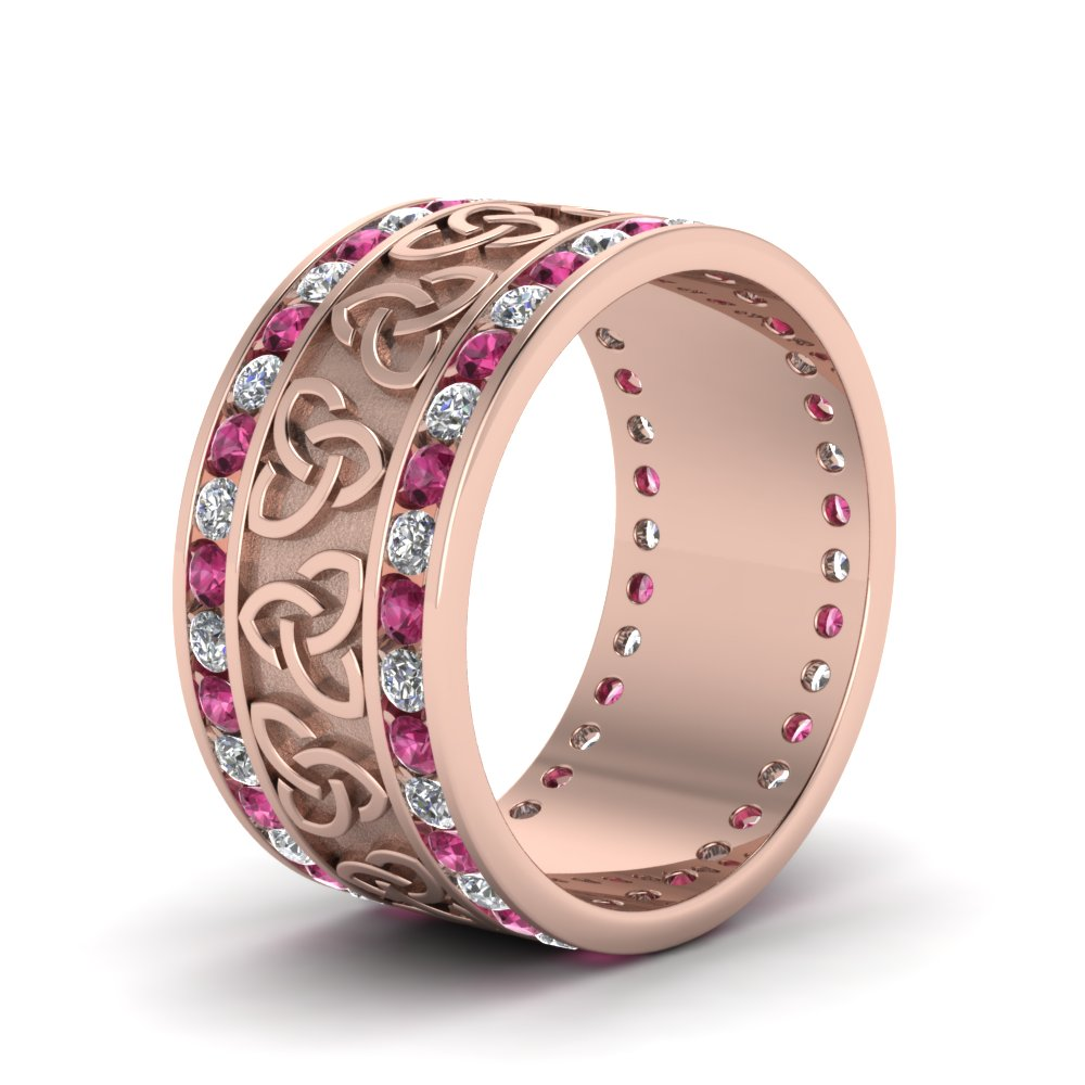 Diamond Celtic Wedding Band With Pink Sapphire In 14K Rose Gold ...