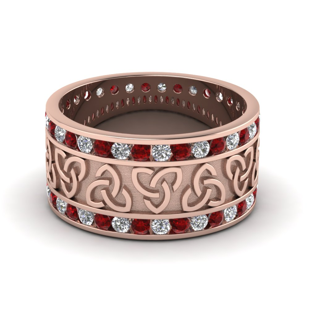 14K Rose Gold Red Ruby Mens Wedding Band