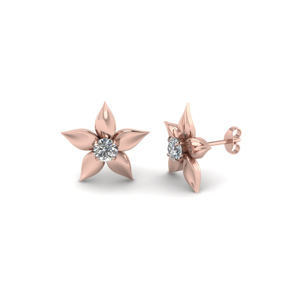 flower petal diamond stud earring in FDEAR1077 NL RG