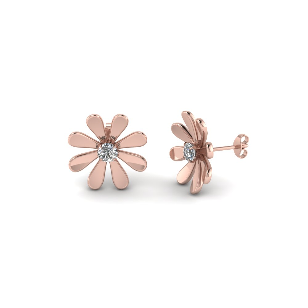 Fancy Flower Diamond Stud Earring In Fdear1083 Nl Rg