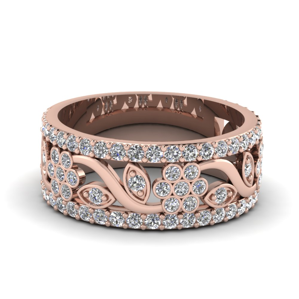 Flower Wide Diamond Band