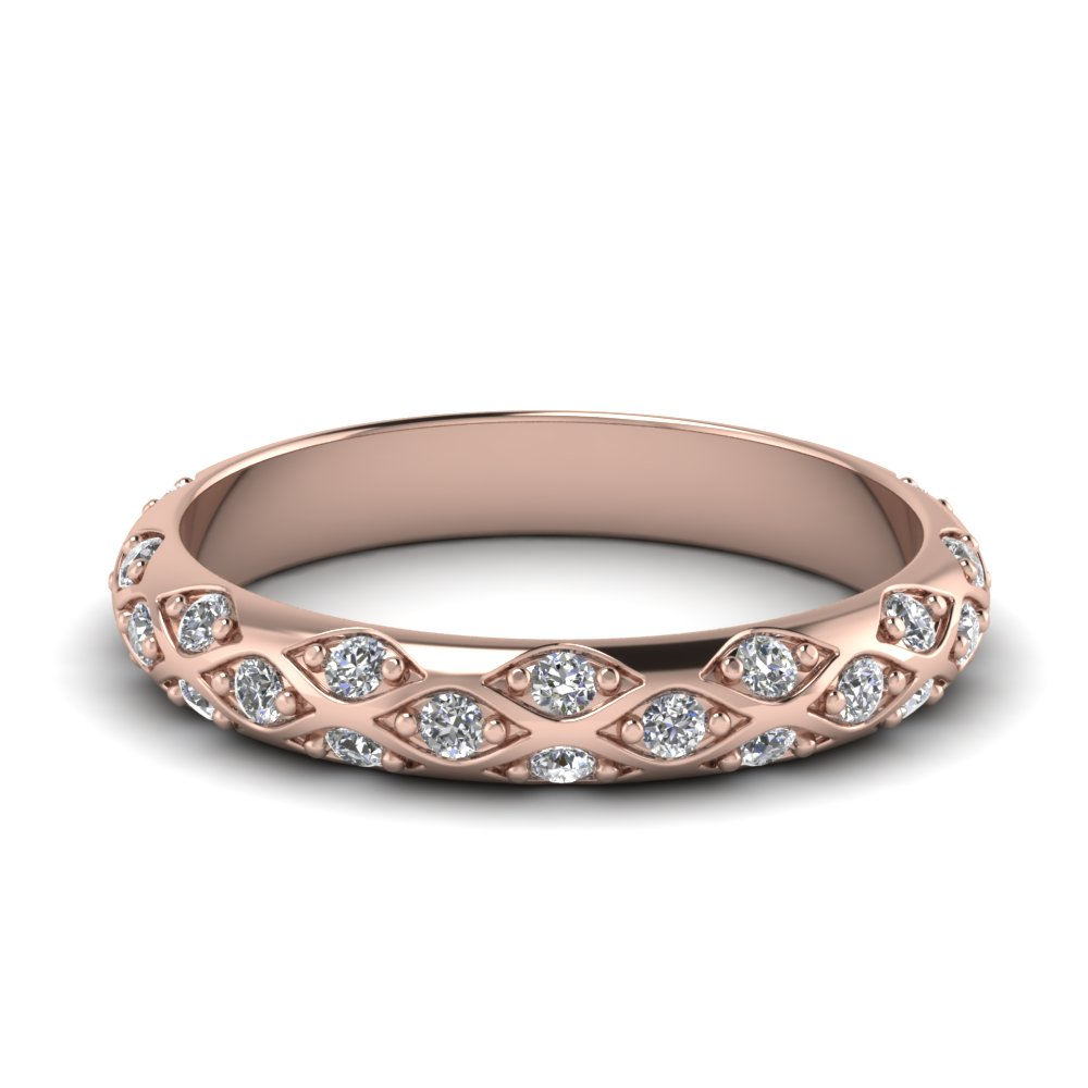 pave cross diamond wedding band in 14K rose gold FD121962B NL RG