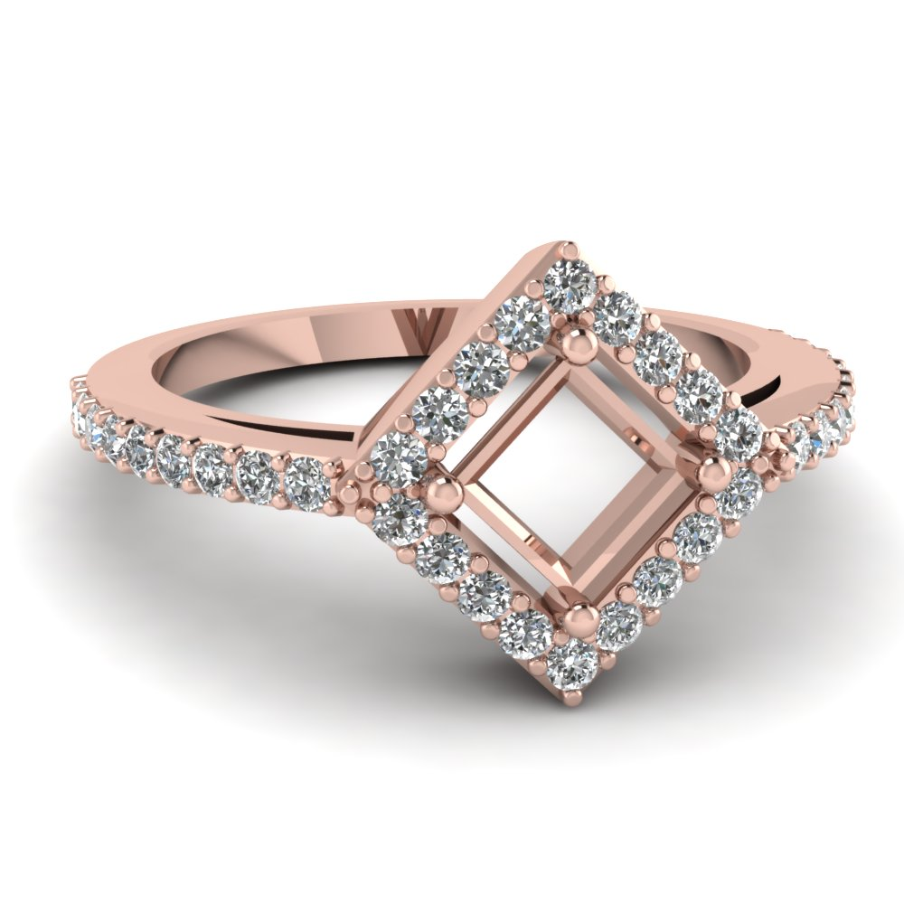 Halo Pink Gold Engagement Ring Setting Only