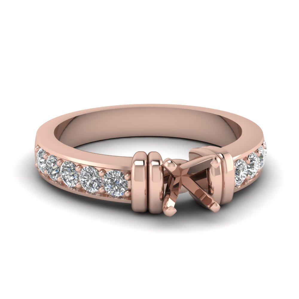 Simple Bar Set Semi Mount Diamond Engagement Ring In 18K Rose Gold
