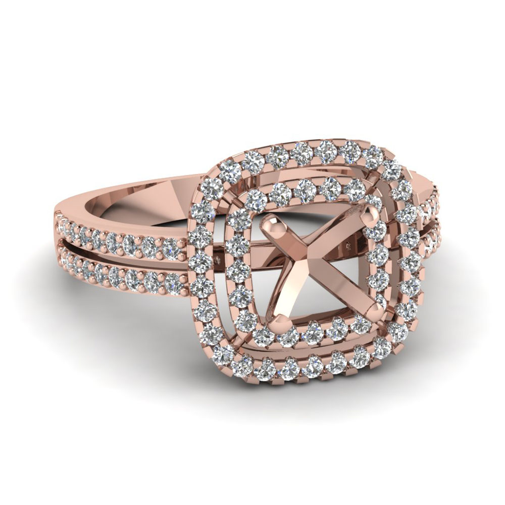 Double Halo Rose Gold Ring Settings