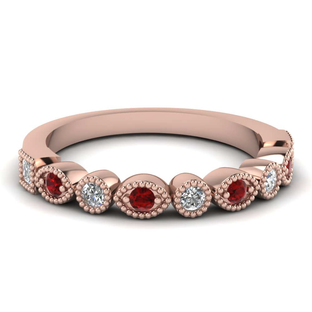 Milgrain Ruby Wedding Band