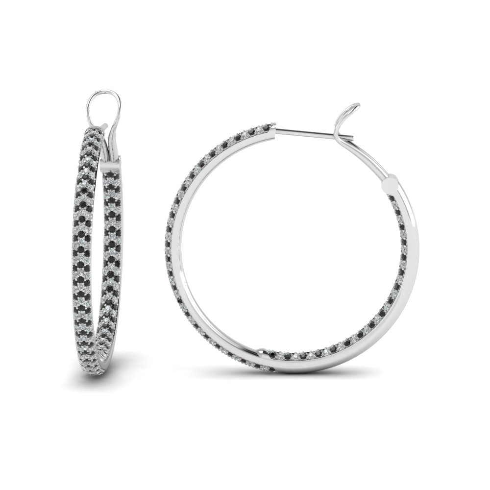 Micropave White And Black Diamond Inside Out Hoops