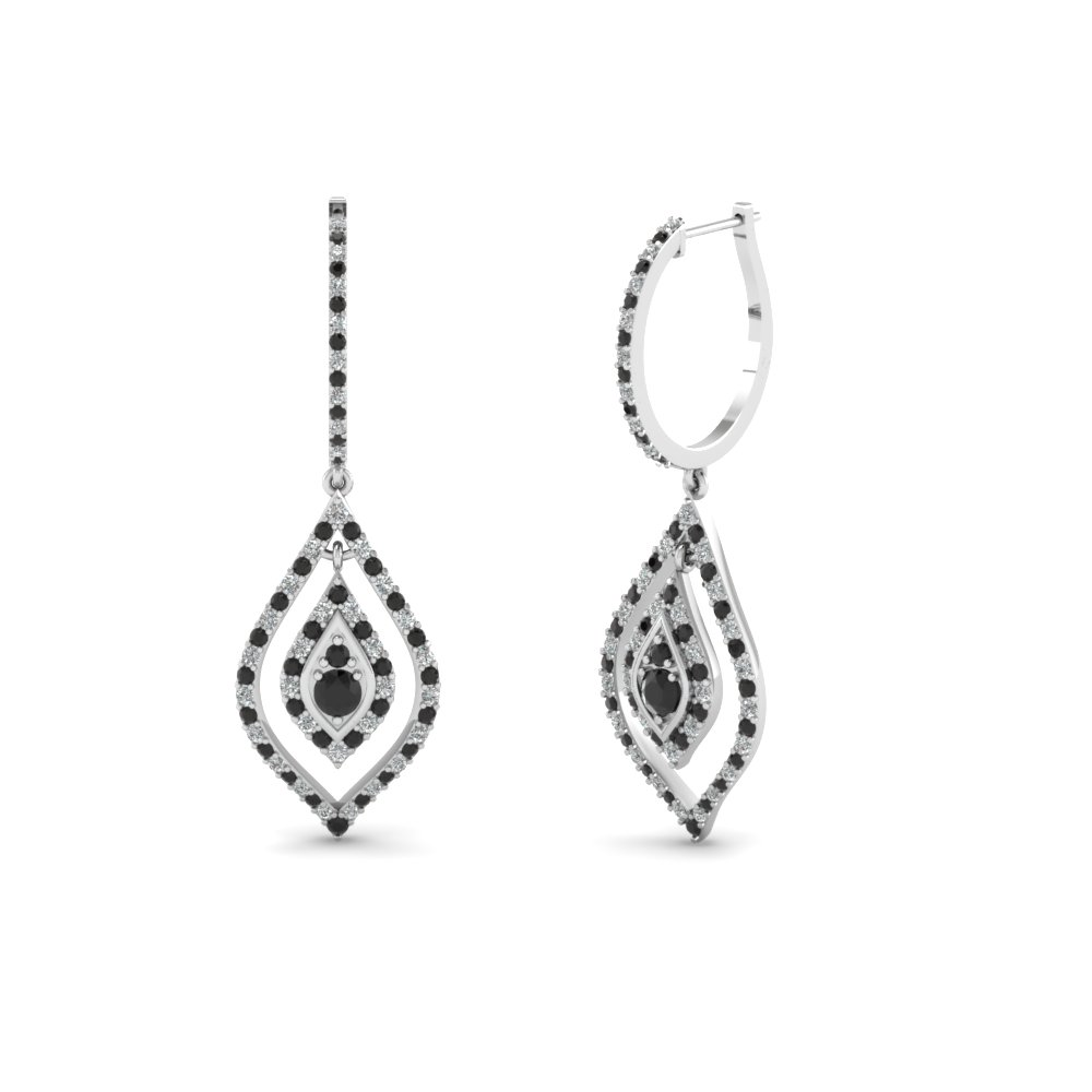 Dangle Earrings with Black Diamond in 14K White Gold