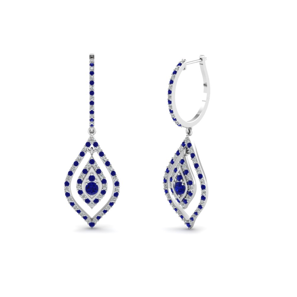 Marquise Blue Sapphire Dangle Earrings