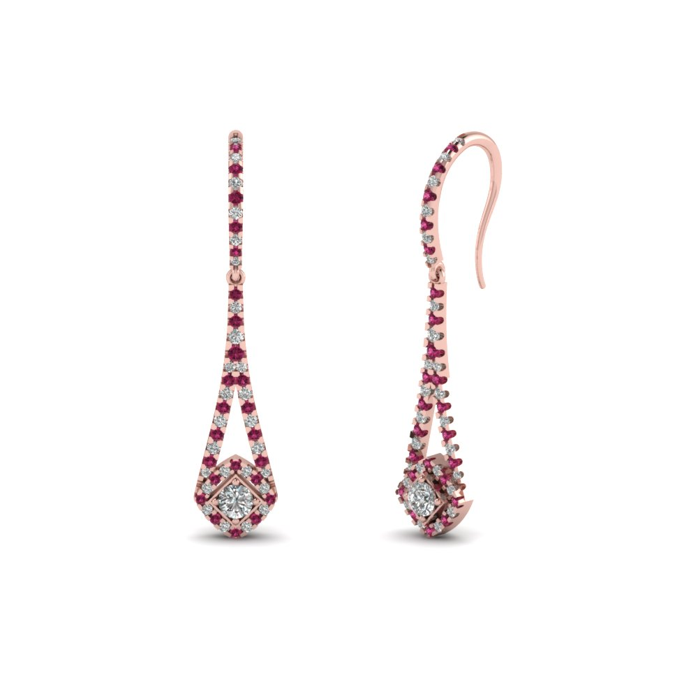 round-cut-dark-pink-sapphire-endearing-dangle-earrings-with-white-diamond-in-14K-rose-gold-FDEAR67101GSADRPI-NL-RG